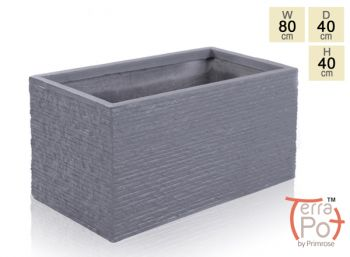 80cm Terracotta Fibrecotta Seville Trough Planter in Dark Grey Brick Finish