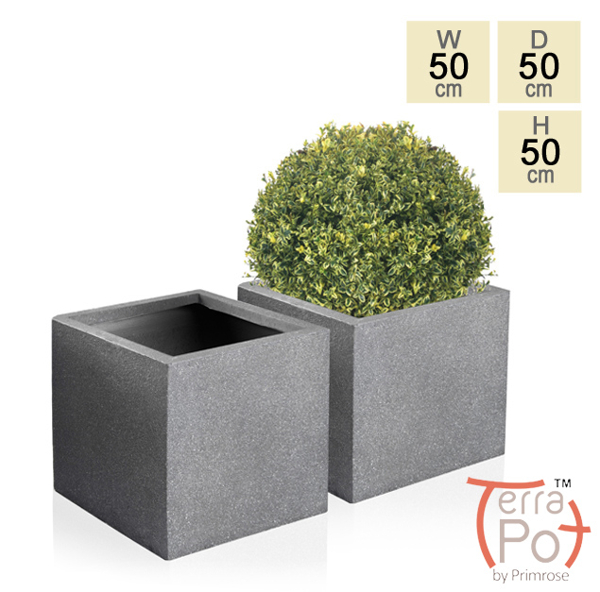 50cm Terracotta Fibrecotta Kadamus Cube Planter in Dark Grey Meteor Texture - Set of 2