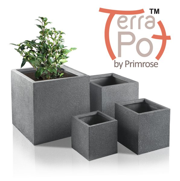Kadamus Fibrecotta Cube Planter in Dark Grey Meteor Texture - Mixed Set of 4 - W25/30/40/50cm