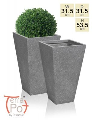 53cm Terracotta Fibrecotta Kadamus Flared Square Planter in Dark Grey Meteor Texture - Set of 2