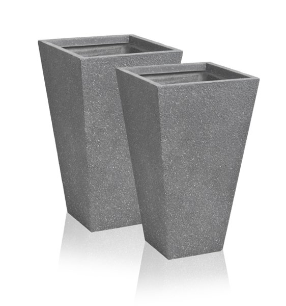 53cm Terracotta Fibrecotta Kadamus Flared Square Planter in Dark Grey Meteor Texture