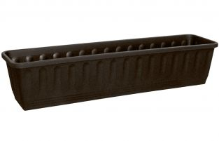 80cm Plastic Etruscan Ornamental Trough Planter in Charcoal - Set of 2