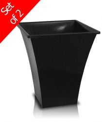 28cm Metallica Decorative Planter in Black - Set of 2