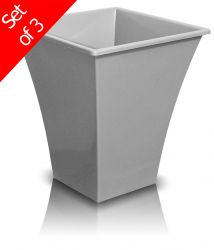 28cm Metallica Decorative Planter in Silver - Set of 3