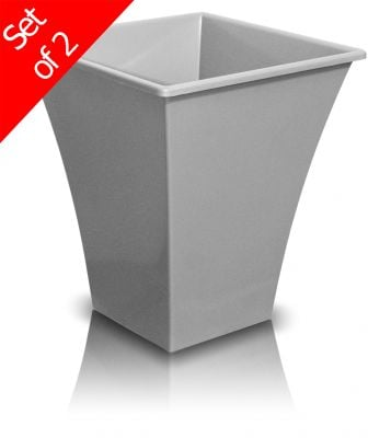 28cm Metallica Decorative Planter in Silver - Set of 2
