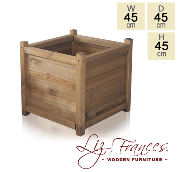 H45cm Wooden Cube Planter by Liz Frances™