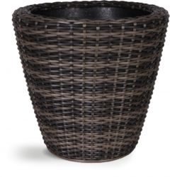 Mixed Brown Rattan Wicker Round Planter with Inbuilt Drainage System H32cm x D34cm