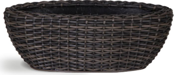 55cm Rattan Mixed Brown Trough Planter with Inbuilt Drainage System