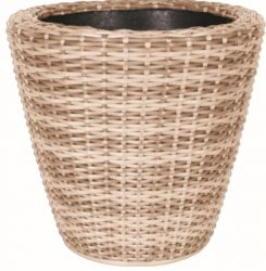 40cm Rattan Mixed Natural Round Planter with Inbuilt Drainage System
