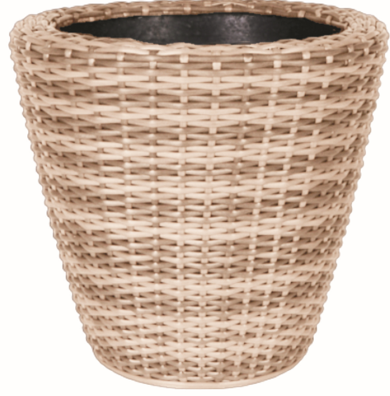 Mixed Natural Rattan Wicker Round Planter with Inbuilt Drainage System H45cm x D47c