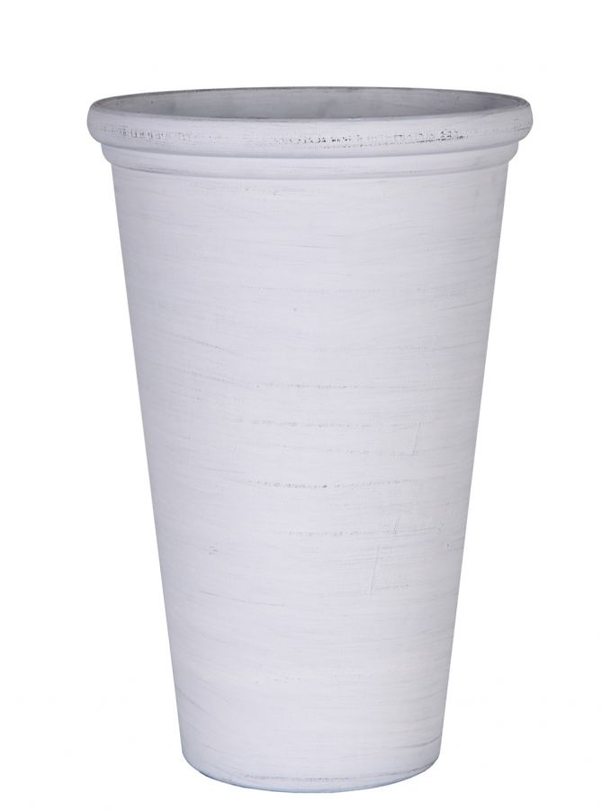 55cm Polystone Whitewash Vase Planter