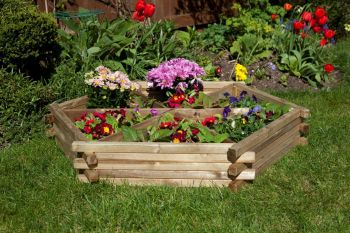 Hardwood 6 Section Wheel Planter