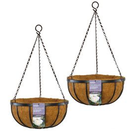Set of Two 30cm Georgian Hanging Basket Planters by Gardman