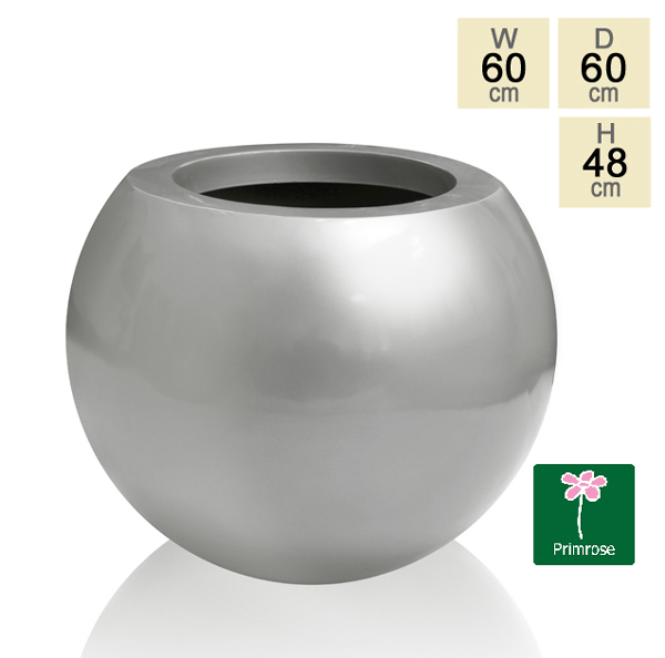 Fibreglass Gloss Spherical Planter by Primrose® - H48cm x D60cm
