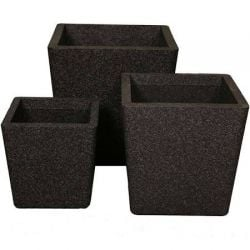 Conical Planter in Black - 3 Piece Set