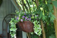 Smart Garden Artificial Hanging Basket Planter - Purple & Yellow