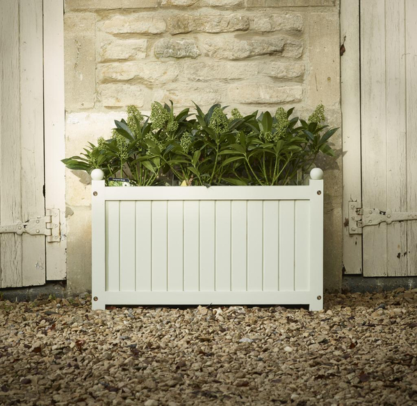 Hardwood Large Trough Versailles Planter in French Grey L70cm x W30cm