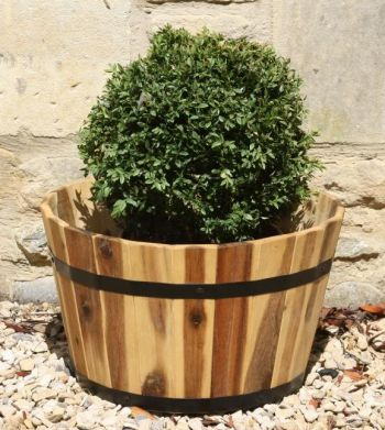 Round Acacia Hardwood Planters - Mixed Set of 3 - D33cm/D40cm/D46cm