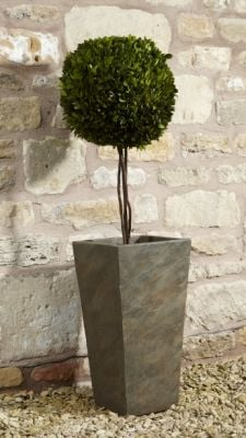 Fibre Clay Tall Planter in Natural Slate Finish - W43cm x H86cm