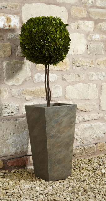 61cm Fibre Clay Tall Planter in Natural Slate Finish