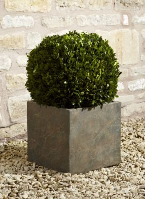 Fibre Clay Cube in Natural Slate Finish - 44cm