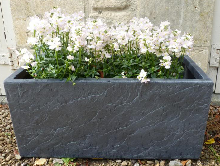 70cm Fibre Clay Trough in Dark Slate Finish