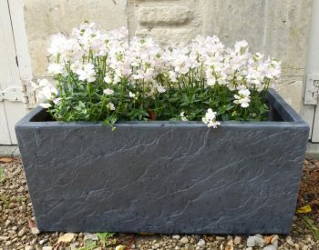 Fibre Clay Trough in Dark Slate Finish - L50cm x W23cm