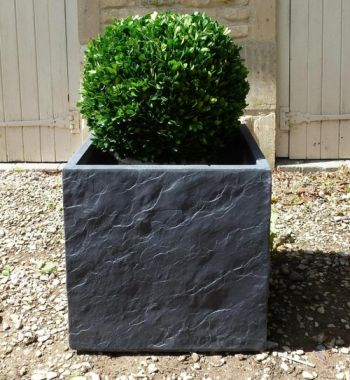 Fibre Clay Cube in Dark Slate Finish - 44cm