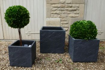 Fibre Clay Cube in Dark Slate Finish - Mixed Set of 3 - 30cm/36cm/44cm