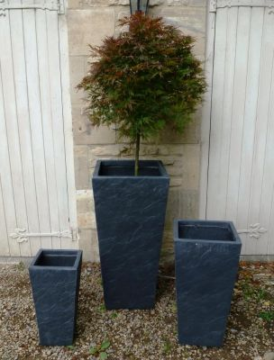 Fibre Clay Tall Planters in Dark Slate Finish - Mixed Set of 3 - H47cm/H61cm/H86cm