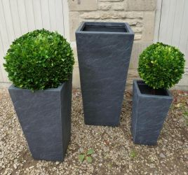 Fibrecotta Tall Planters in Dark Slate Finish - Mixed Set of 3 - H47cm/H61cm/H86cm