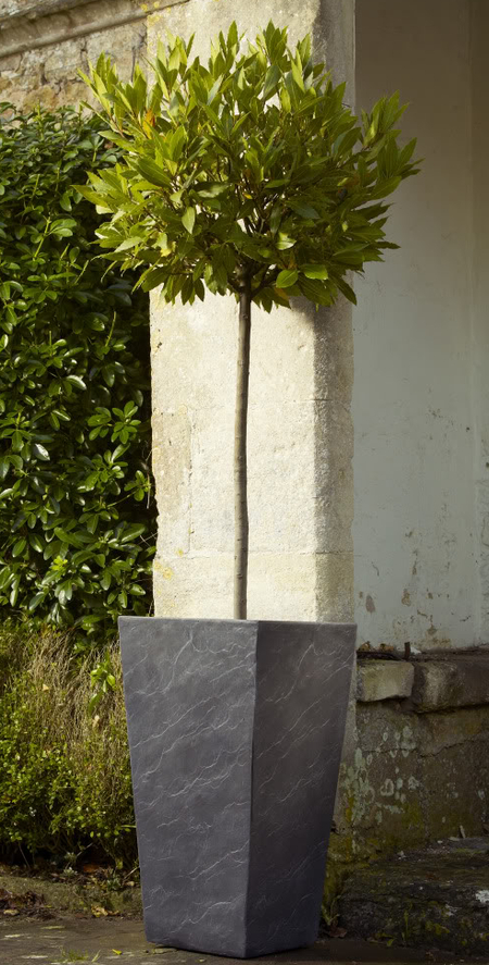 Fibre Clay Tall Planter in Dark Slate Finish - H47cm x W24cm