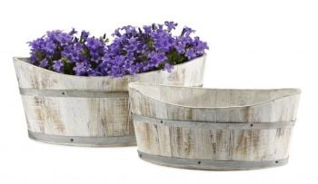 Rustic White-Washed Wooden Boat Planter - L37cm x W20cm