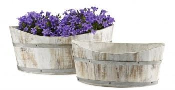 Rustic White-Washed Wooden Boat Planter - L31cm x W16cm