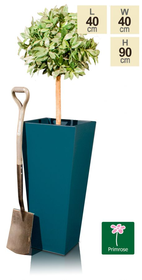 H90cm Zinc Galvanised Teal Flared Square Planter - By Primrose™