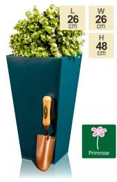 H48cm Zinc Galvanised Teal Flared Square Planter - By Primrose™