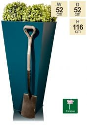 H116cm Zinc Galvanised Teal Flared Square Planter - By Primrose™