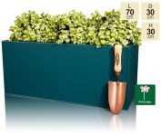 L70cm Zinc Galvanised Petrol Blue Trough Planter - By Primrose™