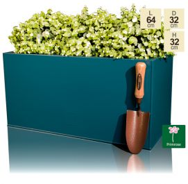 L64cm Zinc Galvanised Teal Trough Planter - By Primrose™