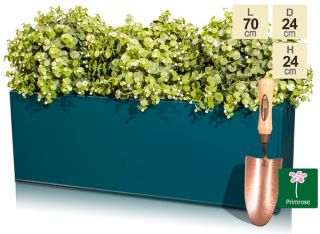 L70cm Zinc Galvanised Teal Trough Planter - By Primrose™