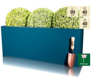 L100cm Zinc Galvanised Teal Trough Planter - By Primrose™