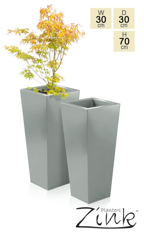 H70cm Heritage Grey Flared Square Planter - By Primrose®