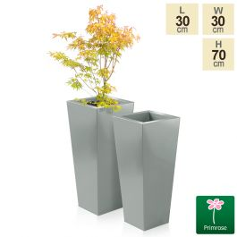 H70cm Heritage Grey Flared Square Planter - By Primrose™
