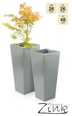 H48cm Heritage Grey Flared Square Planter - By Primrose®