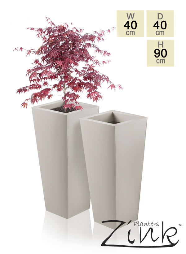 H89cm Heritage Beige Flared Square Planter - By Primrose®