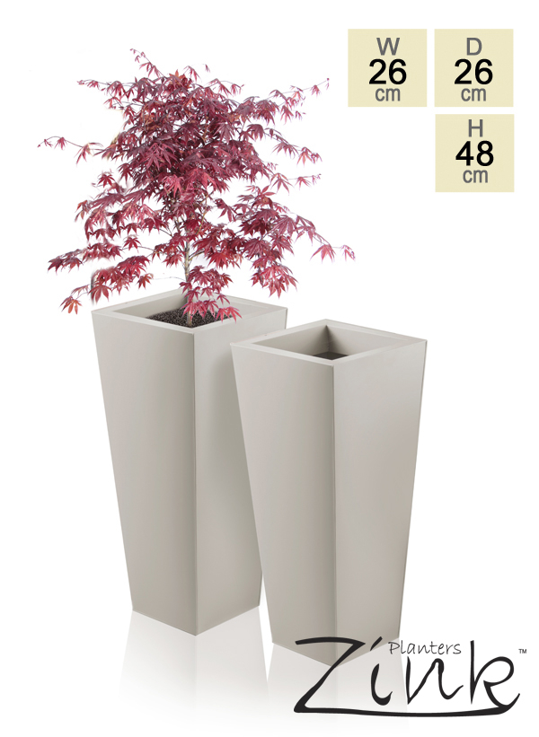 H48cm Heritage Beige Flared Square Planter - By Primrose®