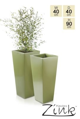 H89cm Heritage Green Flared Square Planter - By Primrose®