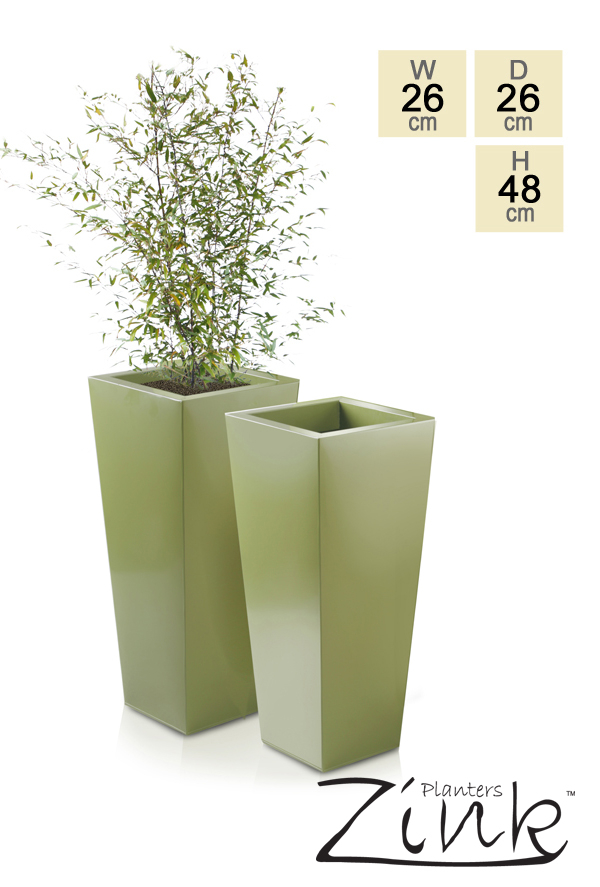 H48cm Heritage Green Flared Square Planter - By Primrose®