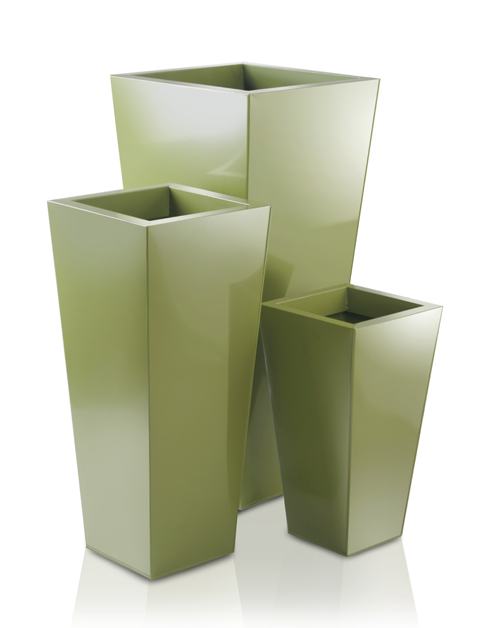H70cm Heritage Green Flared Square Planter - By Primrose®