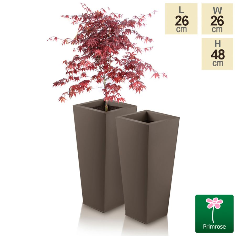 H48cm Heritage Truffle Flared Square Planter - By Primrose™